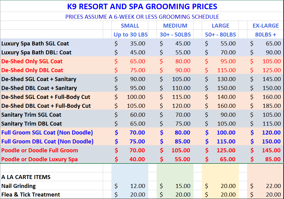 Grooming Prices at K9 Resort and Spa